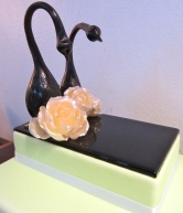 My first pulled sugar work: swans and roses