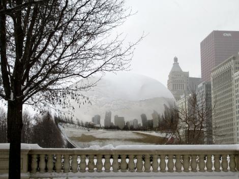 Snowy Cloud Gate aka the Chicago Bean