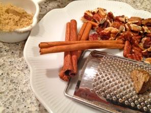 cinnamon, pecans, brown sugar, nutmeg