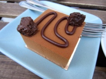 Chocolate, caramel, vietnamese cinnamon cube cake at Craftsman & Wolves