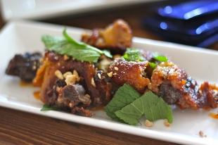 crispy pig tails, chili glaze, toasted cashews + JRG mint greens