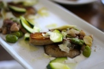braised bulich farm mushrooms, heirloom beans, fava beans, anchovy, parmesan + a cold zucchini salad
