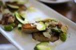 braised bulich farm mushrooms, heirloom beans, fava beans, anchovy, parmesan + a cold zucchini salad