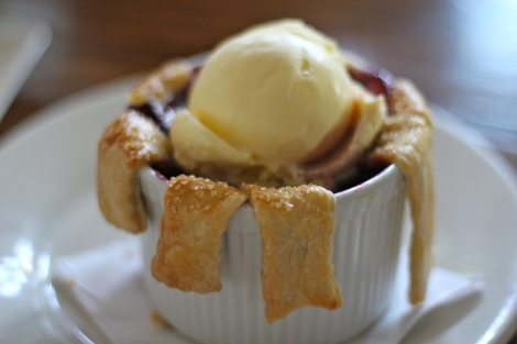 spring fruit cobbler: stewed local spring fruit, lattice crust top, scoop of sweet cream ice cream