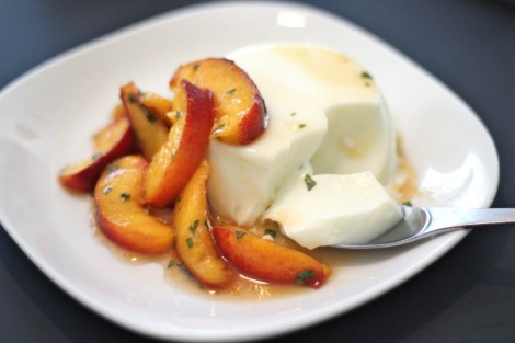 Buttermilk Panna Cotta with Fresh Peaches, Basil & Honey